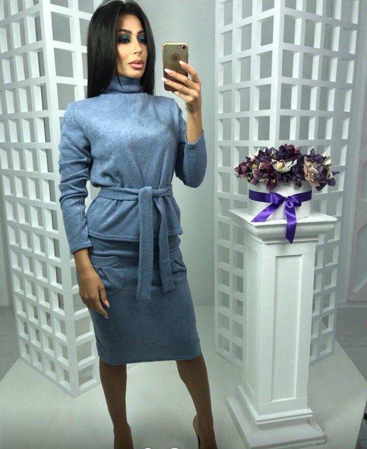Красивый теплый ангоровый костюм юбка и кофта