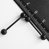 Серьги для пирсинга языка, штанга 20 мм. Медицинская сталь, титановое покрытие.