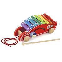 Игрушка каталка ксилофон Машинка Viga Toys, детские музыкальные инструменты
