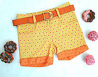 Шорты на девочку, размер 28-36, оранжевый