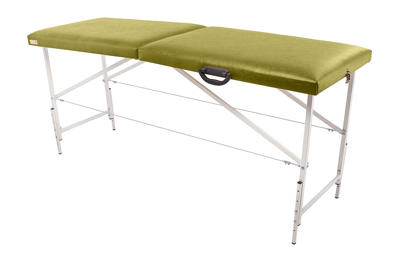 """Массажный стол Ukrestet """"Comfort"""", складной, двухсекционный, оливковый"""