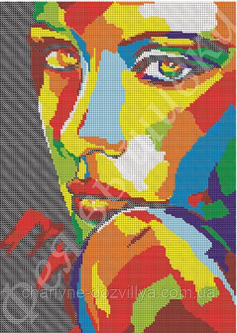 """Схема для вышивки бисером на габардине """"Красочный портрет """" (полная зашивка)"""