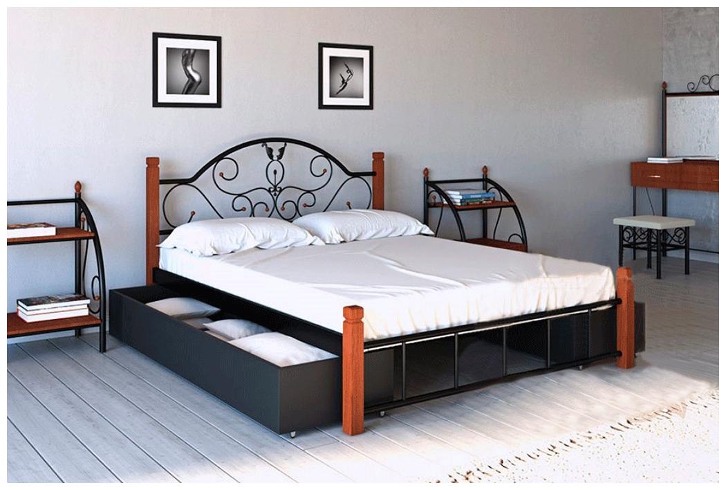 Кровать Анжелика 140*190 деревянные ножки с двумя ящиками (Металл дизайн)