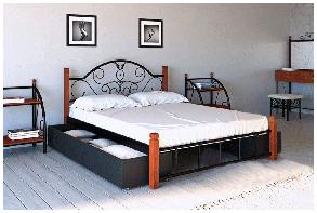 Кровать Анжелика 140*200 деревянные ножки с двумя ящиками (Металл дизайн), фото 2