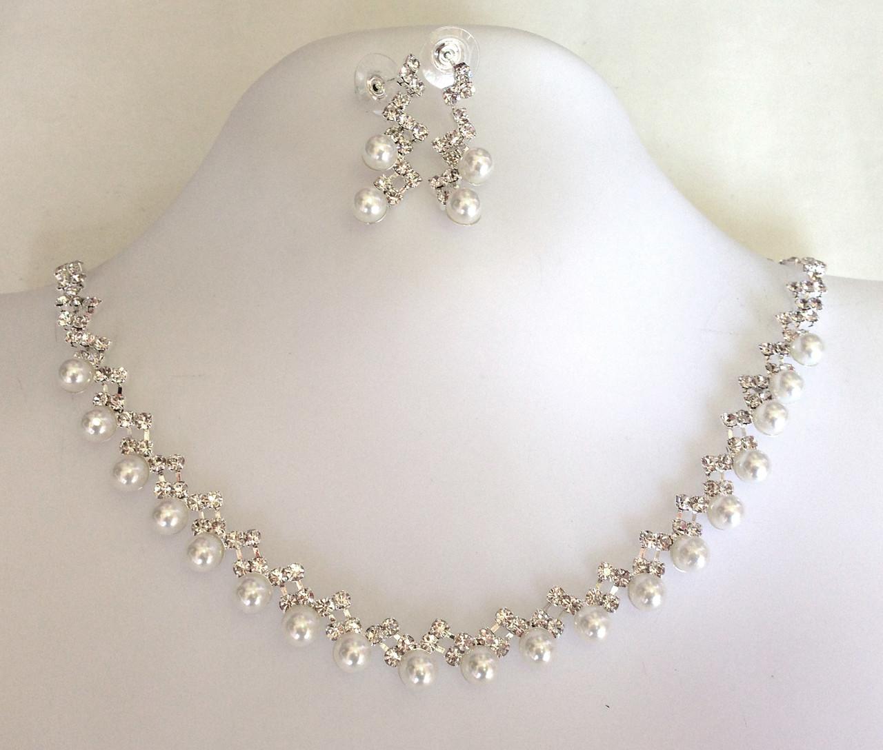 Ожерелье набор из жемчугом, серебристое