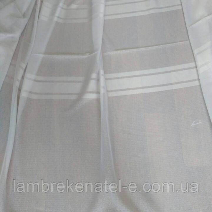 Тюль лен молочный с атласной полосой