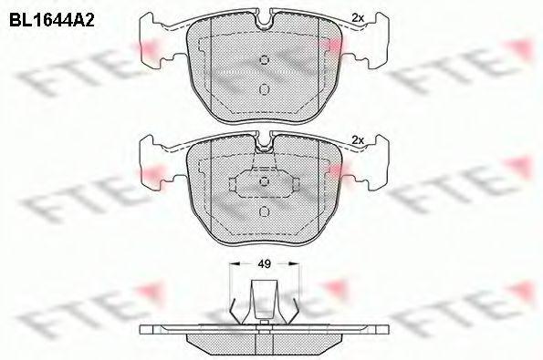 Колодки тормозные (передние) BMW 5 (E39), код BL1644A2, FTE