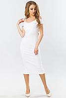 Белое вечернее платье на бретелях