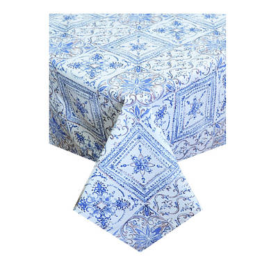 Скатерть с акриловым покрытием Модерн голубой 136х136см