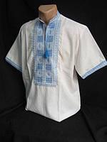 """Мужская вышиванка на белом домотканом полотне""""Квадраты"""", фото 1"""