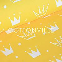 Поплин Короны на желтом, фото 1