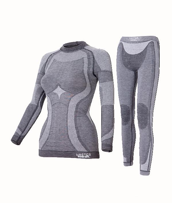 Комплект женского термобелья Haster Merino Wool XS Темно-серый