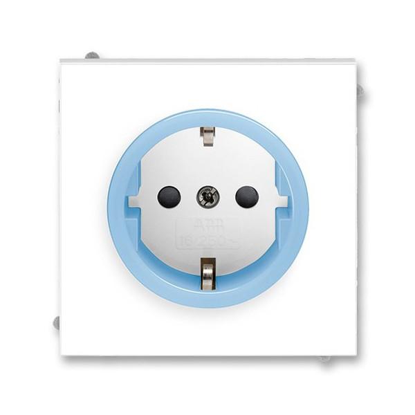 Розетка с заземлением, ABB Neo белый / сине-ледяной 5518M-A03459 41