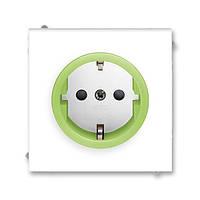 Розетка с заземлением, ABB Neo белый / зелено-ледяной