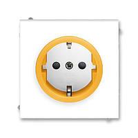 Розетка с заземлением, ABB Neo белый / оранжево-ледяной 5518M-A03459 43
