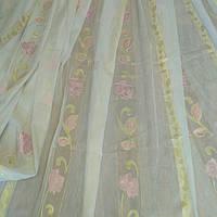Тюль лен  с рисунком Роза