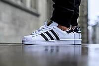 ✔️ Кроссовки, кеды Adidas Superstar White/Black/Gold • Адидас Суперстар Белые