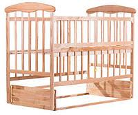 Детская кроватка Наталка ОСМО маятник, откидной бок ольха светлая