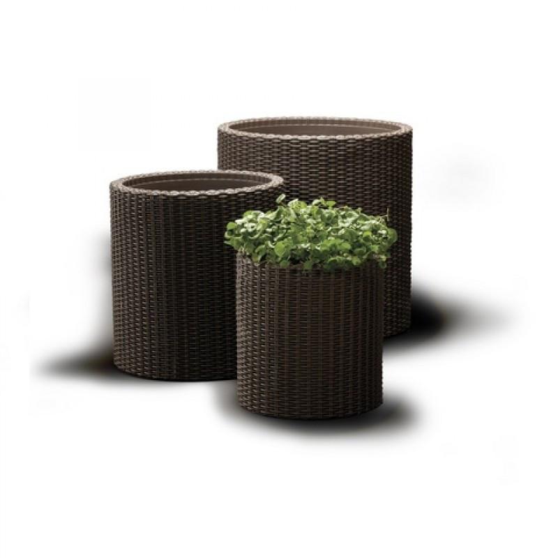 Набор вазонов Keter Cylinder коричневый
