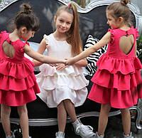 Светлое летнее платье без рукавов 2-10 лет