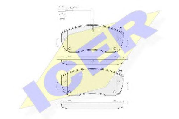 Колодки тормозные (передние) Renault Master III/Opel Movano 10- (Brembo)/(с датчиком), код 141999, ICER
