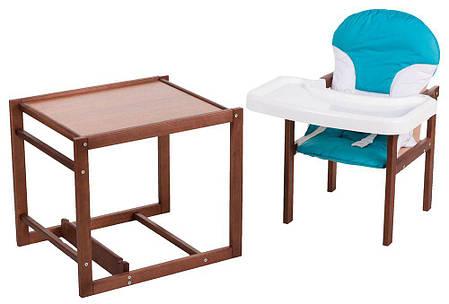 Дитячий стільчик-трансформер для годування For Kids Бук-04 темний пластикова стільниця, фото 2