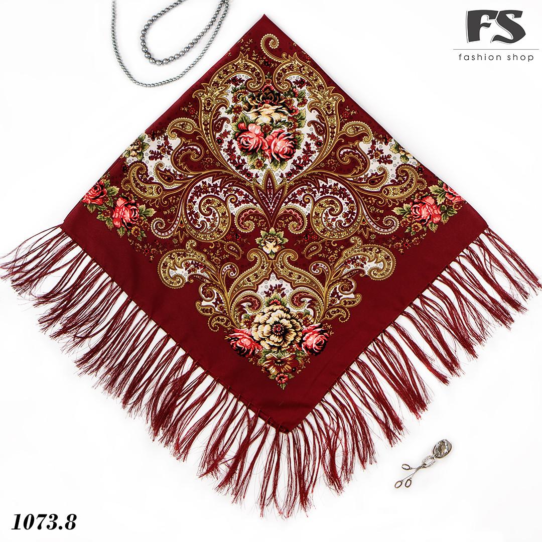 Павлопосадский бордовый платок  Царский