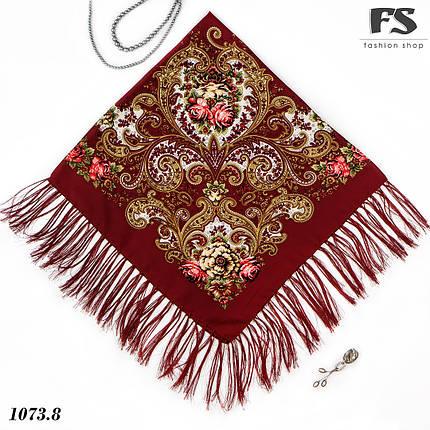 Павлопосадский бордовый платок  Царский, фото 2