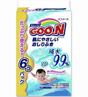 Влажные салфетки Goo.N для чувствительной кожи, 6 мягких сменных блоков по 70 шт
