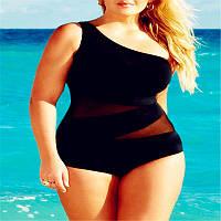Женский купальник слитный черный больших размеров опт, фото 1