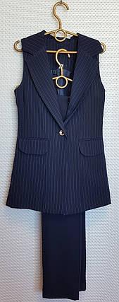 Брючный костюм для девочки 134-152 темно-синий в полосочку+однотон, фото 2
