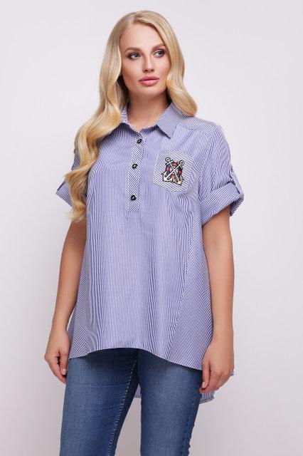 Рубашка женская Ангелина голубая полоска (48-56)