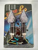 Повороты светодиодные (пара) кристал, карбон, белое стекло, 13 диодов, синий свет №234014