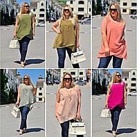 Легкая женская блуза-туника 54-60, Малиновый