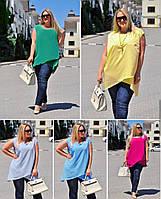 Легкая женская блуза-туника 54-60, Зеленый