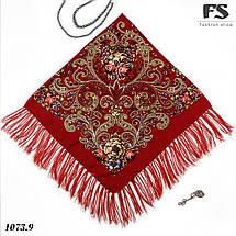 Павлопосадский красный платок  Царский, фото 2