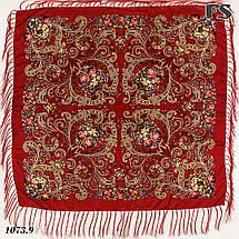 Павлопосадский красный платок  Царский, фото 3