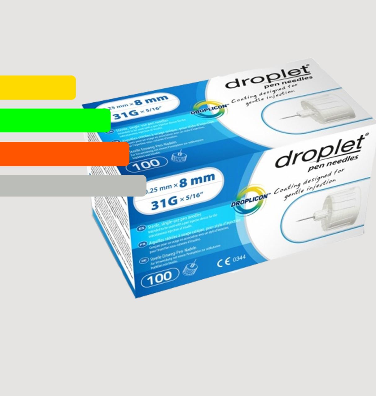 Иглы Дроплет 8мм, для инсулиновых шприц-ручек