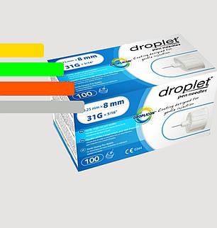 Иглы Дроплет 8мм, для инсулиновых шприц-ручек, фото 2