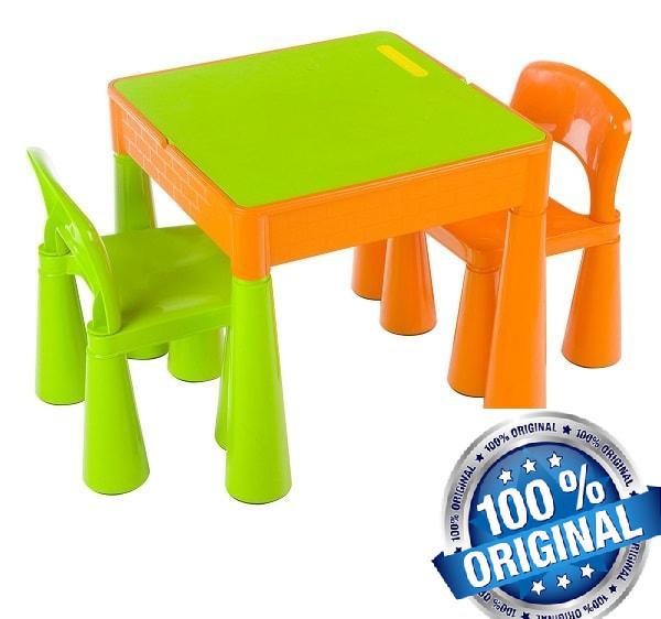 Комплект дитячих меблів Tega Baby Mamut стіл + 2 стільці (оранжевий із зеленим)