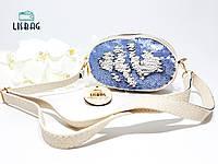 Маленькая сумка с двусторонними пайетками через плечо/на плечо, белая с голубыми пайетками