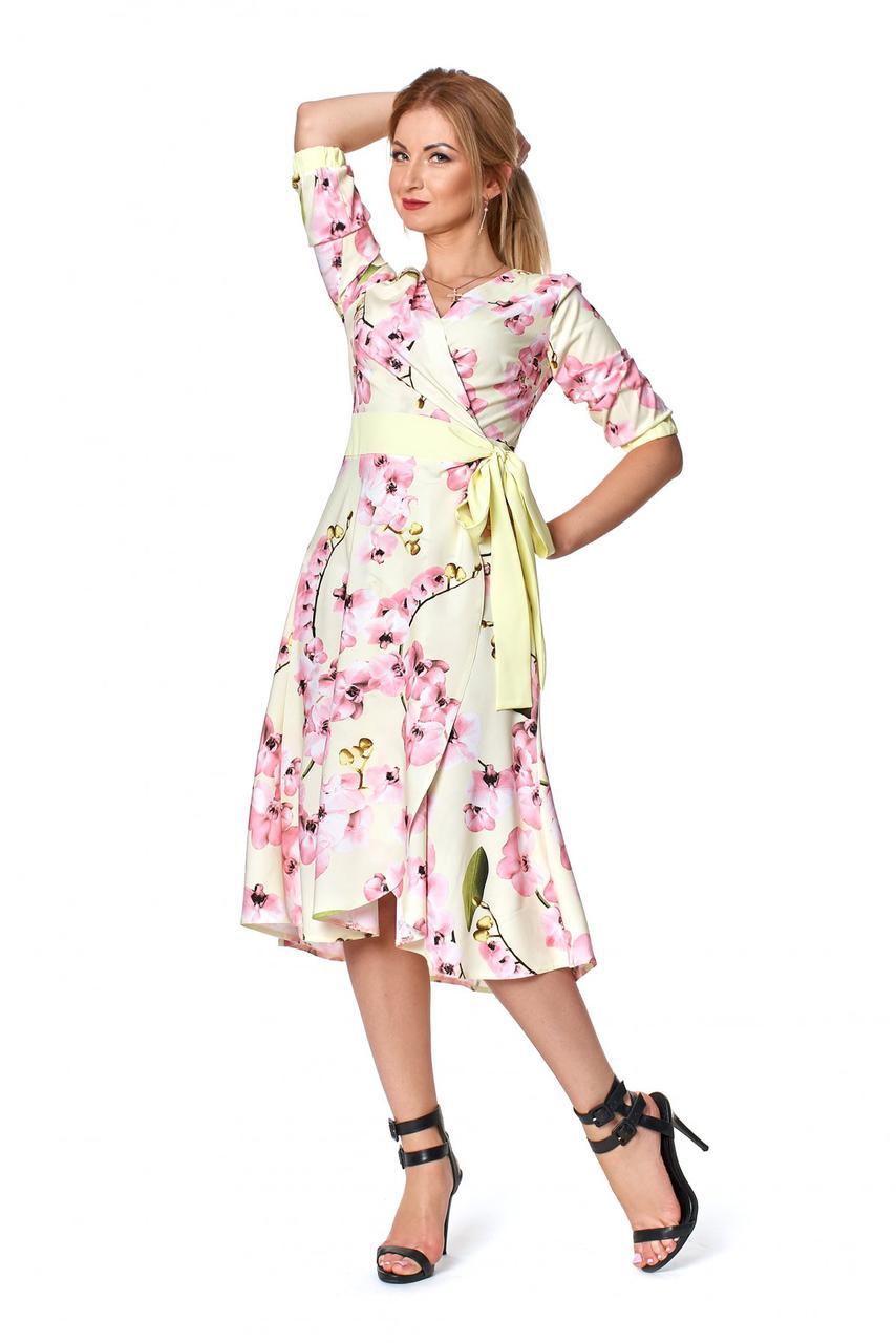 Восхитительное летнее дизайнерское платье на запах р.44