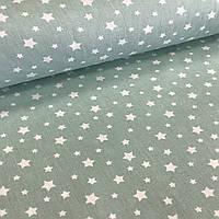 Хлопковая ткань (ТУРЦИЯ шир. 2,4 м) звездопад мелкий белый на мятном