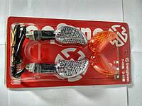 Повороты светодиодные (пара) листик, карбон, со сменными стеклами №234085