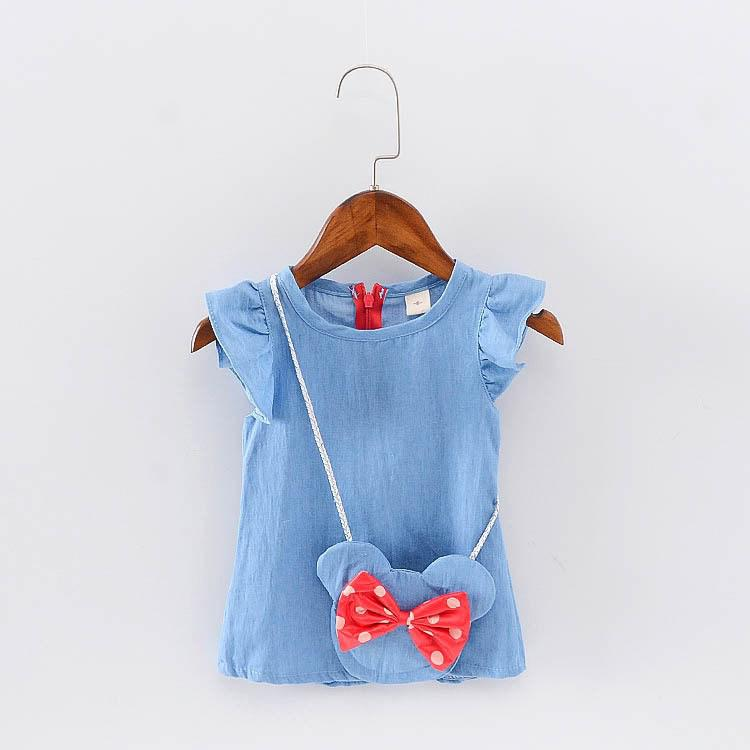 Платье для девочки джинсовое с сумочкой