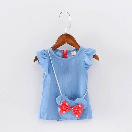 Платье для девочки джинсовое с сумочкой, фото 2