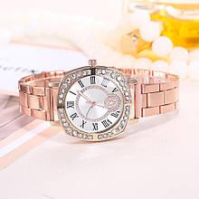 Роскошные женские часы сталь розовое золото
