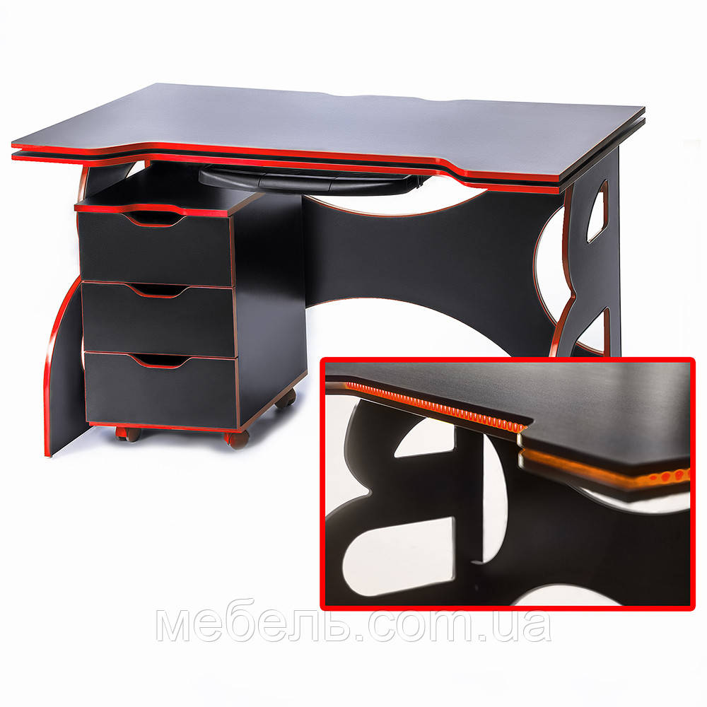 Для ПК стол с тумбой Barsky Game RED LED HG-05/CUP-05/ПК-01