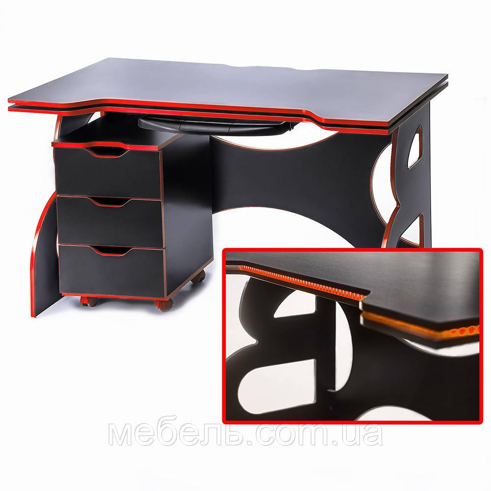 Компьютерный стол с тумбой Barsky Game RED LED HG-05/CUP-05/ПК-01