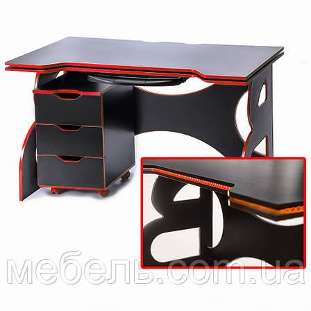Компьютерный стол с тумбой Barsky Game RED LED HG-05/CUP-05/ПК-01, фото 2